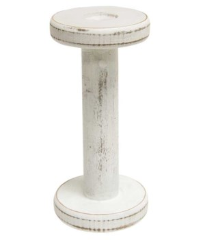 Farmhouse White Spool Candleholder, 7.25  7.25  x 3.5  x 3.5  in.
