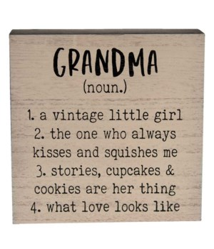 Grandma  Definition Box Sign 6 sq in.
