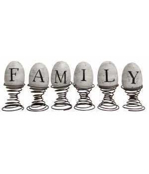 6/Set,  Family  Eggs On Springs 10.75 x 4 x 1.75 in.