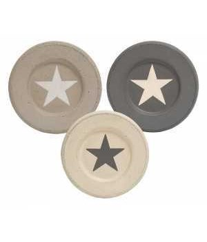 Farmhouse Colors Distressed Star Plate, 3 Asstd.