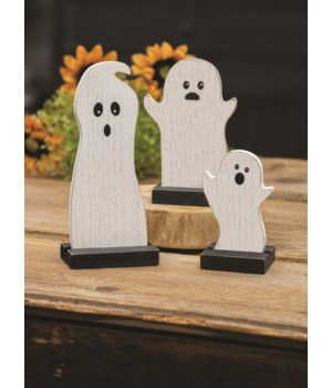 3/Set Wooden Ghosts 4.5 x 2.5 x 2 in. in.