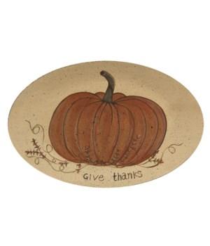 Give Thanks White Pumpkin Plate
