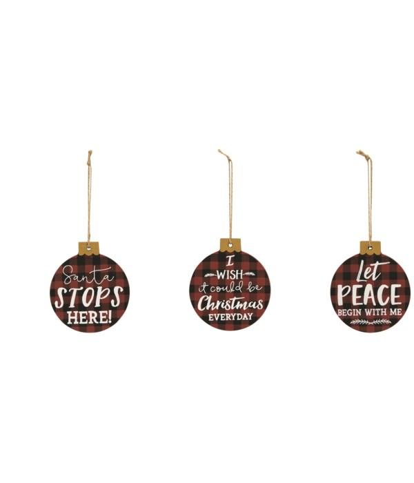Santa Stops Here Ornament, 3 asstd. 43 in.