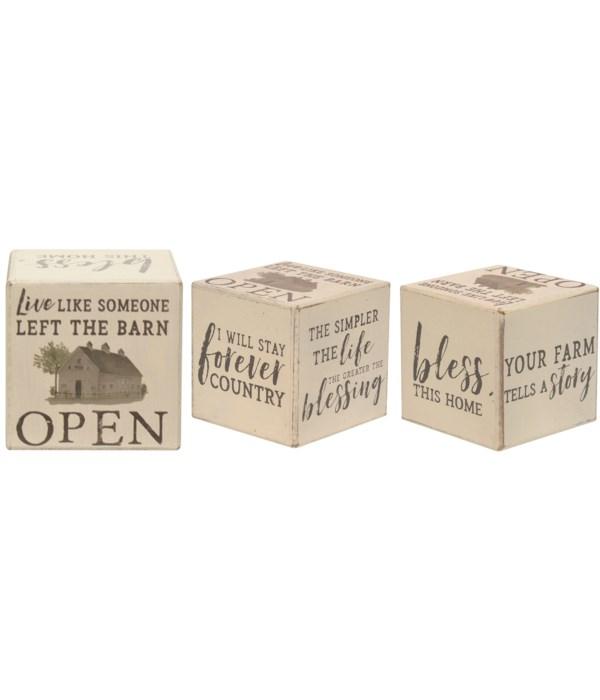 Faith, Family, Farm Six-Sided Block.. 3.75h x 11w x 1/8dp in.