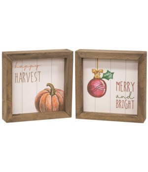 Happy Harvest, Merry and Bright Two Sided Framed Sign............ 5.75h x 5.85w x 1.50 dp in.