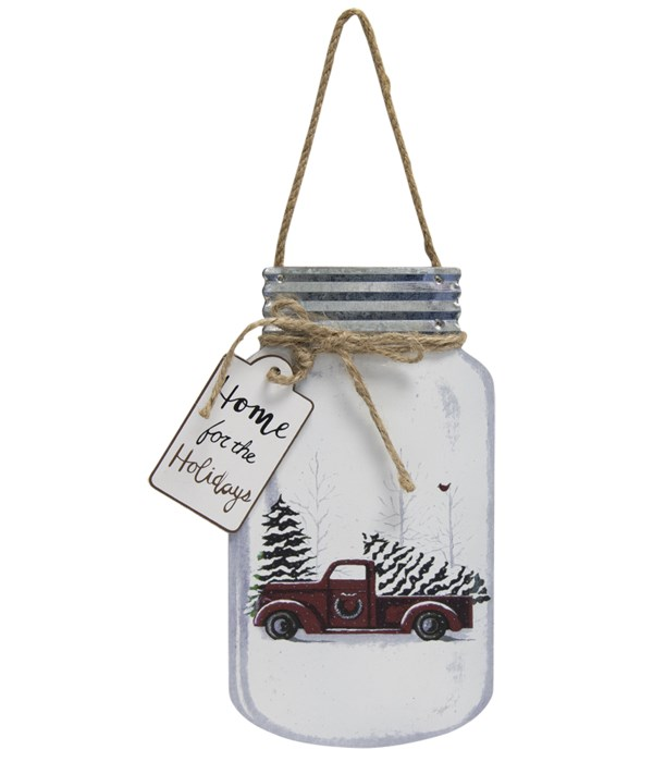 Home for the Holidays Christmas Truck Mason Jar Hanger 8 x 4.5 x .5 in.
