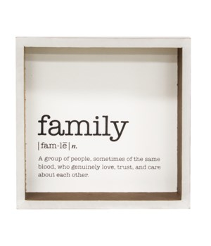 Family Definition Shadowbox Sign 1.5 x 6.75 x 6.75 in.