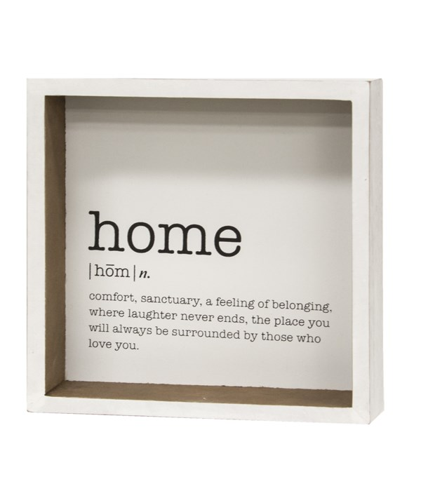 Home Definition Shadowbox Sign 1.5 x 6.75 x 6.75 in.