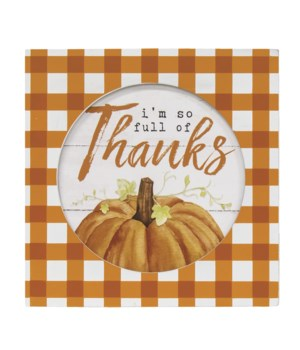 Full of Thanks Box Sign 1.5 x 7.75 x .75 in.