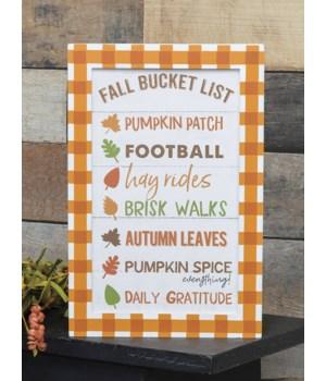 Fall Bucket List Box Sign 1.5 x 8 x 12 in.