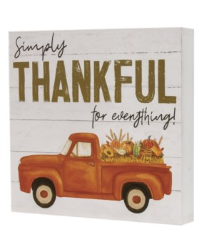 Simply Thankful Truck Box Sign 1.5 x 7.75 x .75 in.
