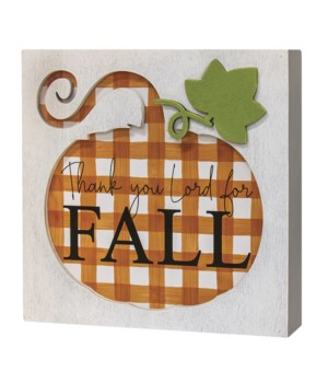Thank You Lord For Fall Box Sign 1.5 x 7.75 x .75 in.