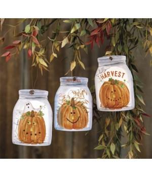 Happy Fall Mason Jar Ornament, 3 Asstd. .25 x 2.75 x 4 in.