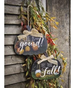 Hello Fall Pumpkin Ornament, 2 Asstd.