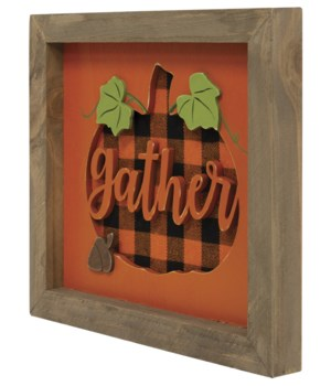 Gather Buffalo Check Framed Sign 8.25  h x 9.5  w x 1  D in.