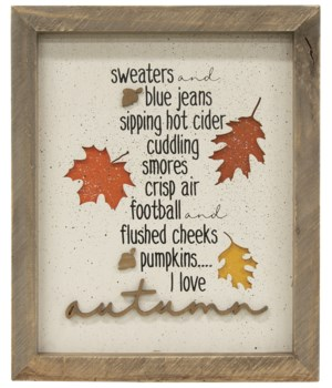 I Love Autumn Framed Sign 11.5  h x 9.5  w x 1  D in.