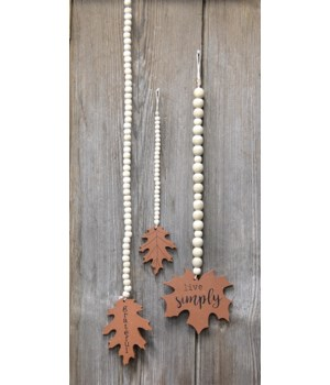 Beaded Fall Leaves S/3 10 - 22 x 2 1/4 - 3 in.