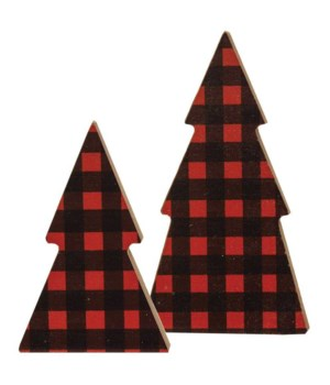 Set/2, Red Buffalo Christmas Check Tree..Sitters .5 x 2.5 x 4.5 in.