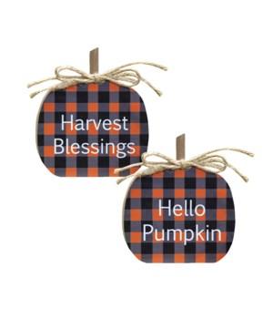 Harvest Blessings Buffalo Check Pumpkin Sitter, 2 Asstd. 3.25  h x 27/8  w x 5/8  D in.