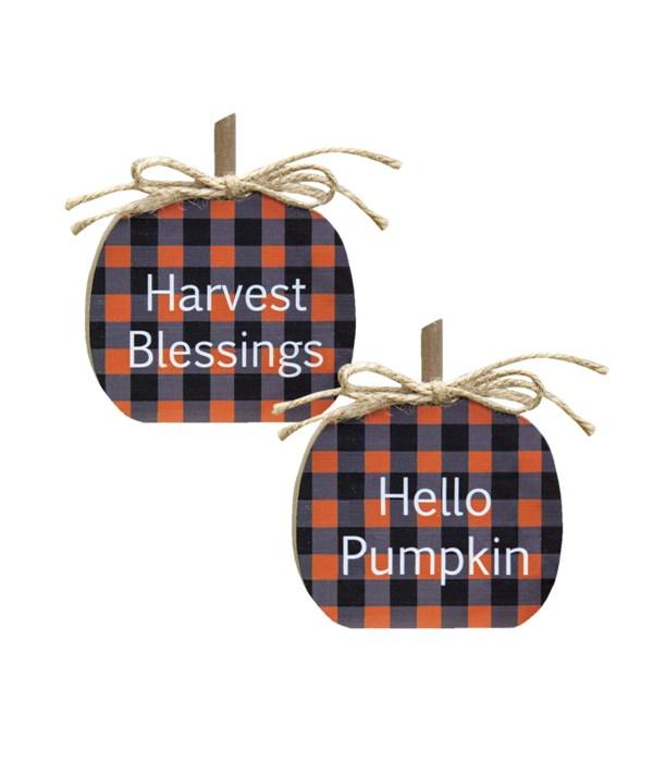 Harvest Blessings Buffalo Check Pumpkin Sitters, 2 Asst.