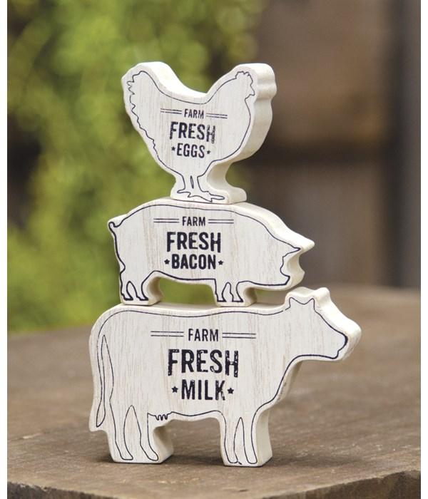 3/Set Cow, Pig, Chicken Stack