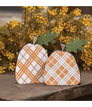 Orange Plaid Freestanding Pumpkins 2/Set..