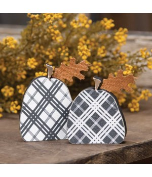 Black Plaid Freestanding Pumpkins 2/Set..