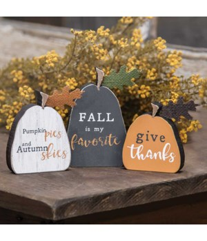 Set/3 Fall Freestanding Pumpkins..