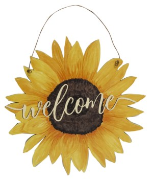 Sunflower Welcome Sign 8.75 dia x .75 dp in.