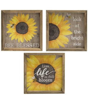 Bee Blessed Sunflower Box Sign, 3 Asstd. 8  sq x 1.25 dp in.