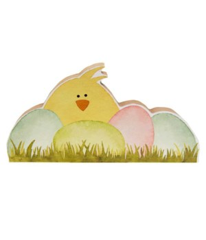 Chick w/Easter Eggs Chunky Shelf Sitter 7.5 l x 1 dp x 4 h in.