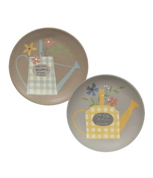 Watering Can & Flowers Plate, 11', 2 Asstd. 11 dia in.