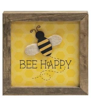 Bee Happy Frame 6 l x 1 w x 6  h in.
