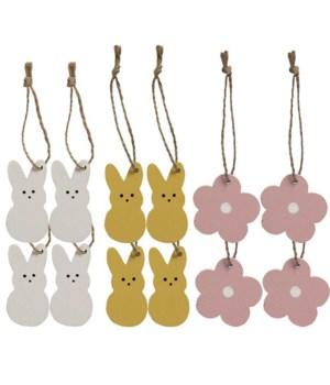 12/Set, Bunny & Flower Mini Ornaments bunny: 2 h/flower: 1.5 h in.