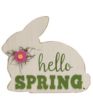 Hello Spring Bunny Plaque 12 l x .5  Dp. x 10  h in.