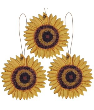 3/Set, Wooden Sunflower Ornaments 2.75  dia in.