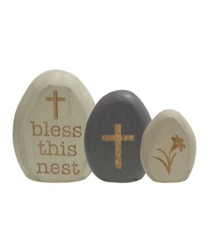 3/Set, Bless This Nest Egg Shelf Sitters 3 l x 1  Dp x 3.75 h in.