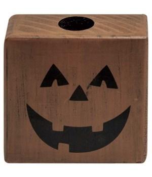 Jack O'Lantern Block Taper Holder 3.25  sq. x 1.5  w in.
