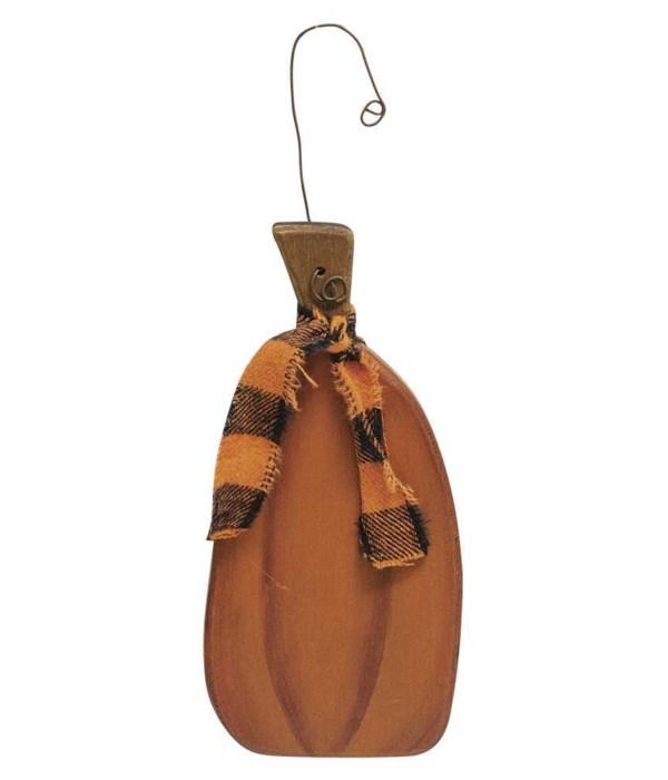 Tall Pumpkin Ornament w/Ribbon 3 l x .25 w x 7 h in.