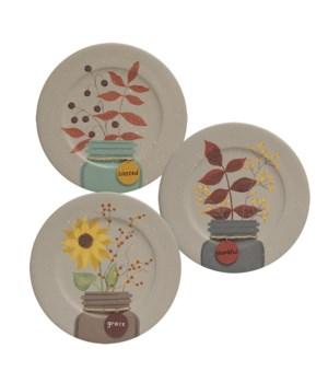 Fall Mason Jar Tag Plate, 3 Asstd. 8.5 dia x .75 dp in.