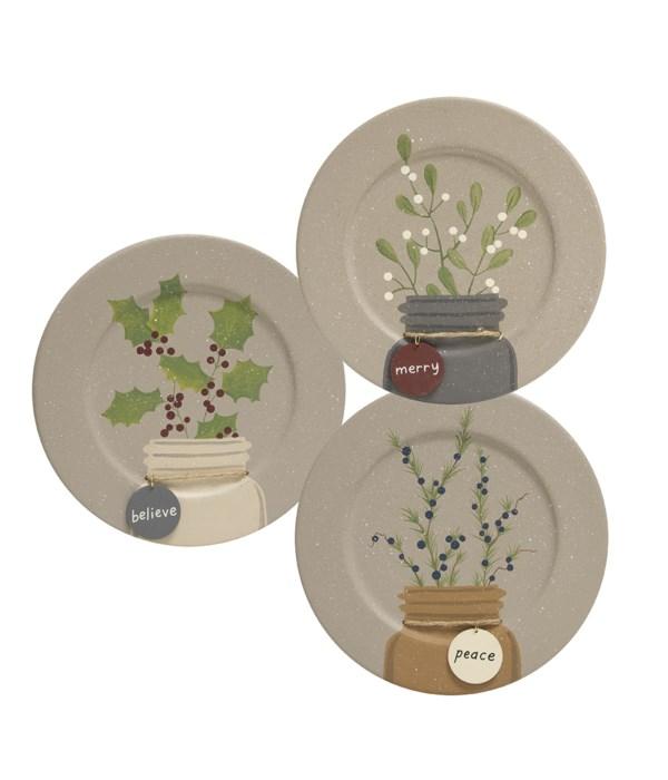 Winter Mason Jar Tag Plate, 3 Asstd. 8.5 dia x .75 dp in.