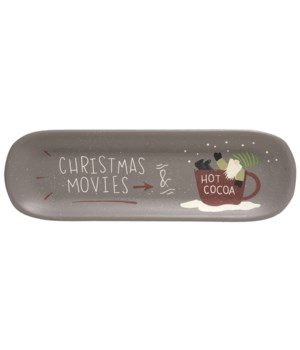 Christmas Movies & Hot Cocoa Wooden Tray 15.75 l x 1.25  dp x 5  h in.