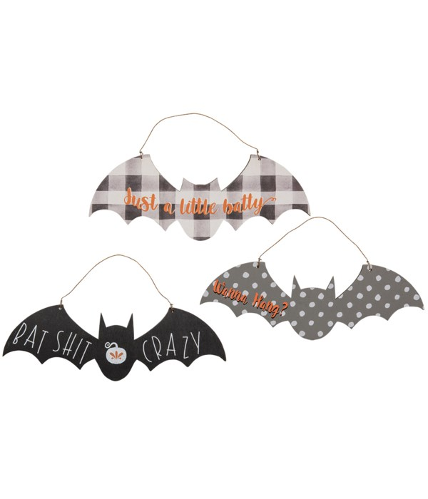 Our Bat Shit Crazy Ornament is an assortment of 3 wooden bats featuring Halloween themed phrases. T