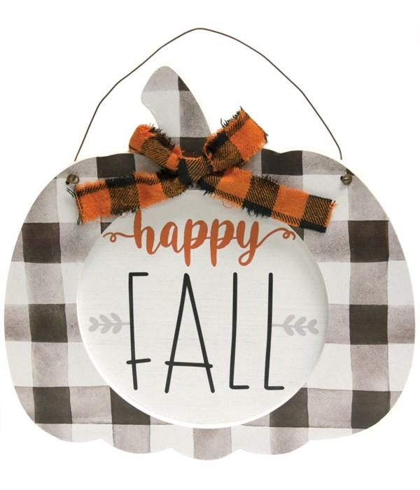Happy Fall Buffalo Check Hanging Pumpkin