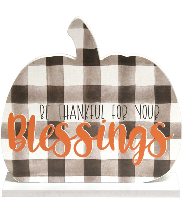 Be Thankful For Your Blessings Buffalo Check Pumpkin On Base