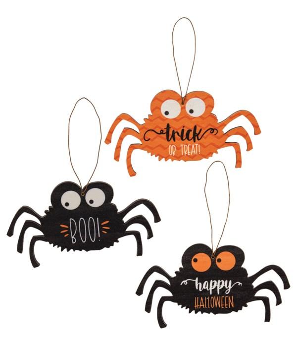 Spider Boo Ornament, 3 Asstd.