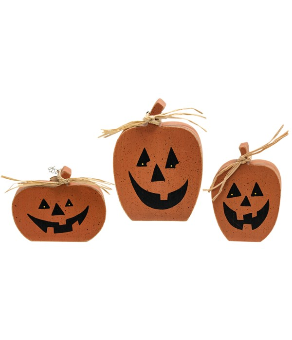 3/Set, Chunky Reversible Pumpkin Sitters