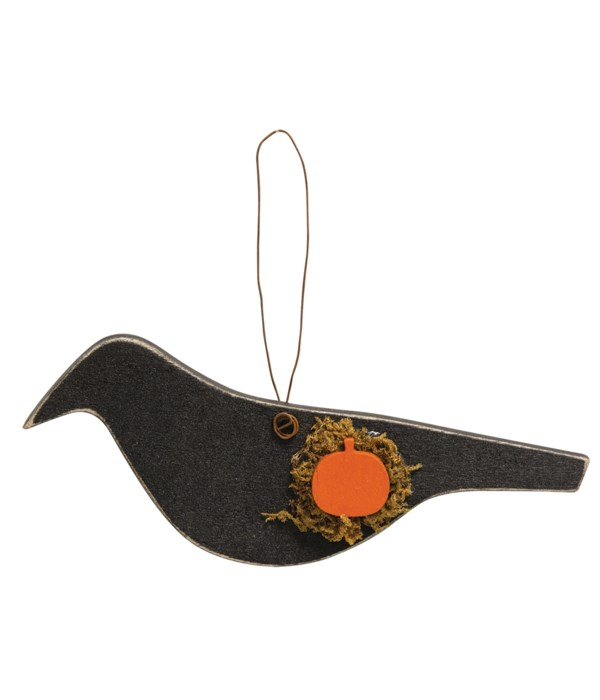Crow With Pumpkin Wooden Ornament