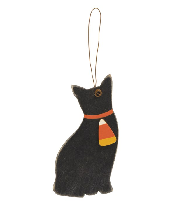 Cat With Candy Corn Wooden Ornament