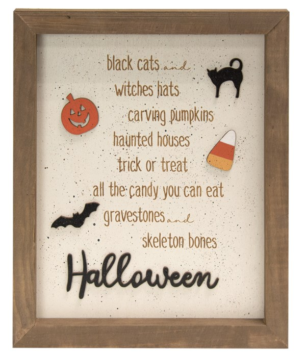 Black Cats And Witches Hats Dimensional Wooden Sign